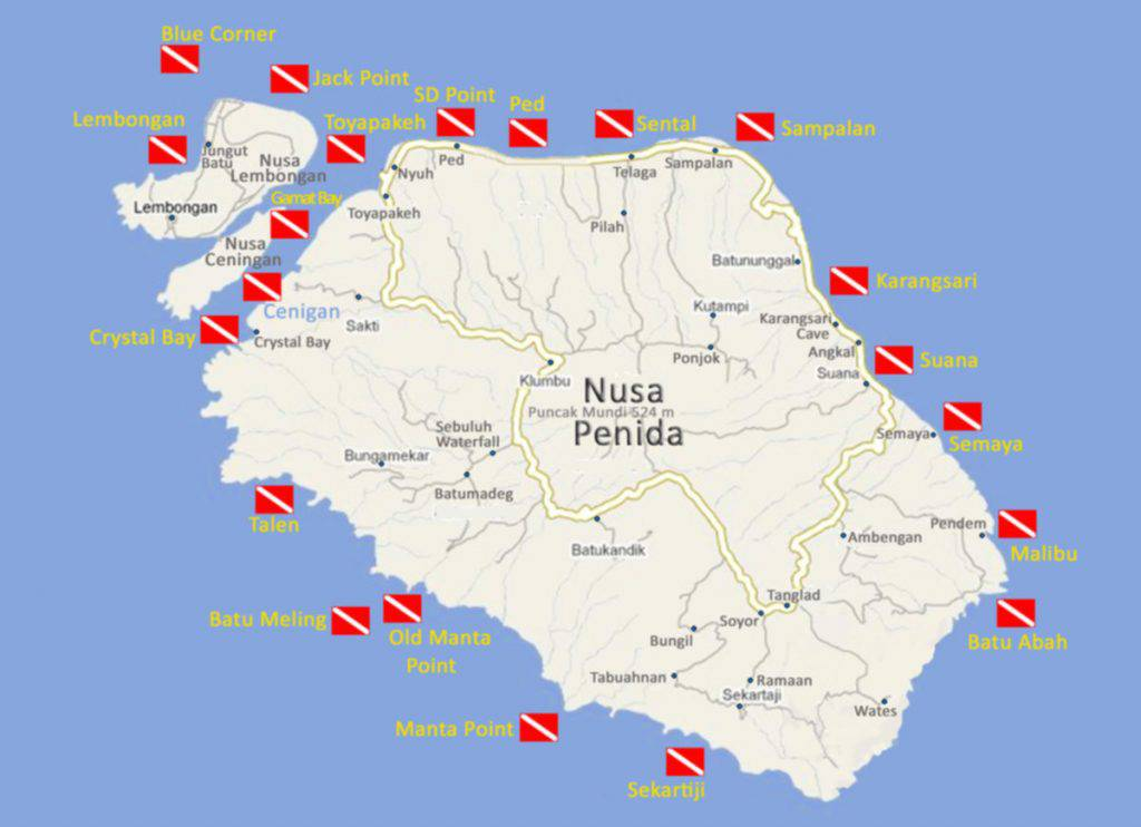 Nusa Penida Dive Map